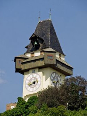 Graz. Clock tower of Graz