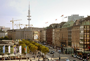 Jungfernstieg. Sight of Hamburg