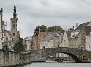 The historic city center of Bruges, the bridge