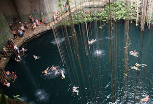 The natural well Cenote Ikil, Mexico