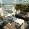 At Munich Airport appeared first class lounge with outdoor terrace.